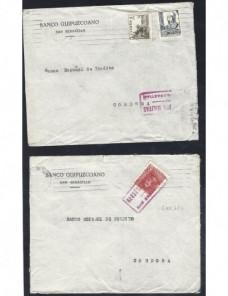 Dos cartas comerciales España censura militar San Sebastián Guerra Civil Zona Nacional - Guerra Civil Española.