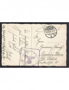 Tarjeta postal ilustrada correo de campaña Alemania II Guerra Mundial Potencias del eje - II Guerra Mundial.