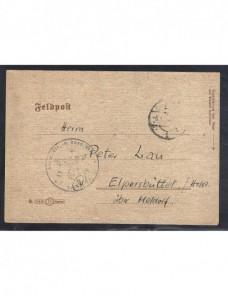 Tarjeta correo de campaña Alemania II Guerra Mundial con calendario Potencias del eje - II Guerra Mundial.