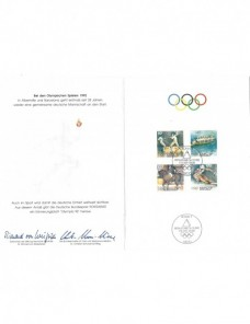 Lote temático. Tema Olimpiadas. Documento primer día Alemania Otros elementos temáticos.