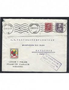 Carta comercial Zaragoza censura militar Guerra Civil Zona Nacional - Guerra Civil Española.