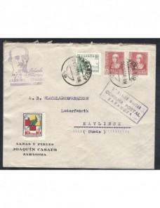 Dos cartas comerciales Zaragoza censura militar Guerra Civil Zona Nacional - Guerra Civil Española.