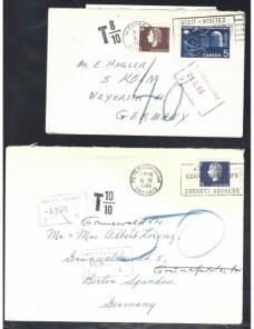 Dos cartas Canadá marcas de tasas Otros Mundial - Desde 1950.