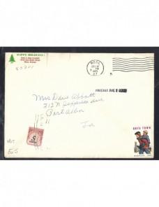 Carta Estados Unidos viñetas y sello de tasa EEUU - Desde 1950.