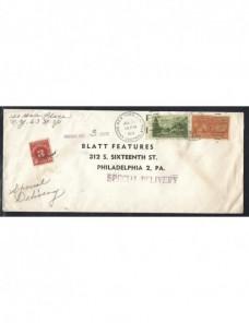 Carta urgente Estados Unidos con sello y marcas de tasas EEUU - Desde 1950.