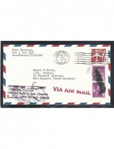 Aerograma Estados Unidos marca devolución y tasas EEUU - Desde 1950.