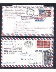 Dos cartas correo aéreo Estados Unidos marca devolución y tasas EEUU - Desde 1950.