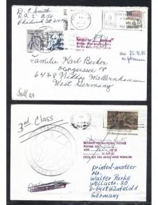 Tres cartas Estados Unidos marcas de devolución y tasas EEUU - Desde 1950.