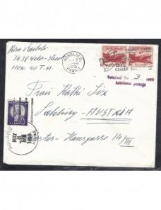 Carta correo aéreo Estados Unidos Hawaii marca de devolución y tasa EEUU - Desde 1950.