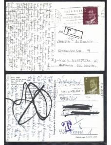 Cuatro tarjetas postales España marcas de tasa España - Desde 1950.
