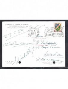 Lote temático. Tema flores. Tarjeta postal Francia matasellos y tasa Matasellos y franqueos mecánicos.