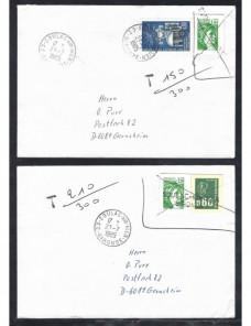 Dos cartas Francia franqueo irregular y marca de tasa Francia - Desde 1950.