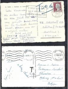Dos tarjetas postales Francia marca de tasa Francia - Desde 1950.