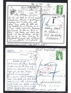 Cuatro tarjetas postales Francia marca de tasa Francia - Desde 1950.