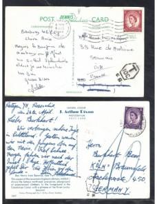 Cuatro tarjetas postales ilustradas Gran Bretaña marcas de tasa Gran Bretaña - Desde 1950.