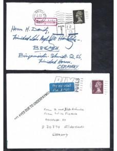 Tres cartas Gran Bretaña marcas de tasa Gran Bretaña - Desde 1950.