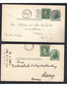 Dos tarjetas entero postales Estados Unidos EEUU - 1900 a 1930.