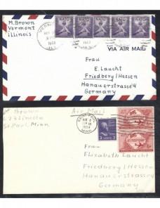 Seis cartas correo aéreo Estados Unidos EEUU - Desde 1950.