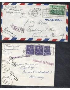 Dos cartas correo aéreo Estados Unidos marcas de devolución EEUU - Desde 1950.