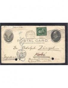 Tarjeta entero postal Estados Unidos dirigida a Japón EEUU - 1900 a 1930.