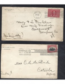 Dos cartas Estados Unidos matasellos rodillo EEUU - 1900 a 1930.