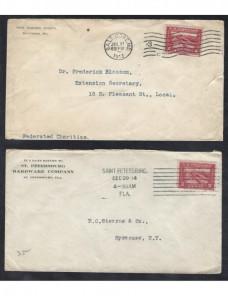 Tres cartas Estados Unidos matasellos rodillo EEUU - 1900 a 1930.