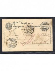 Tarjeta entero postal Suiza marca de tasa Otros Europa - Siglo XIX.