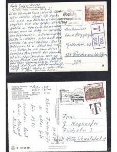 Lote temático. Tema turismo. Tres tarjetas postales Austria matasellos Matasellos y franqueos mecánicos.