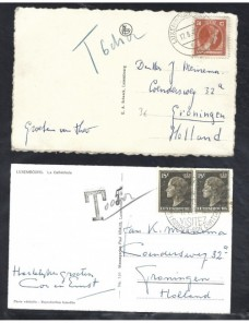 Dos tarjetas postales Luxemburgo marcas de tasa Otros Europa - 1931 a 1950.