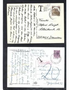Cuatro tarjetas postales Italia marcas de tasa Otros Europa - Desde 1950.