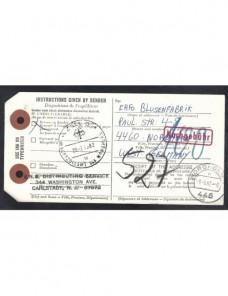 Tarjeta - boletín de expedición Estados Unidos marca de tasa EEUU - Desde 1950.