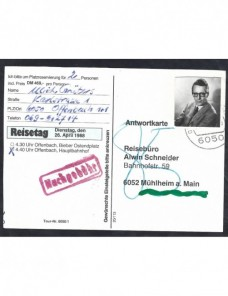 Tarjeta comercial Alemania franqueo fraudulento y tasa Alemania - Desde 1950.