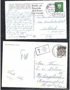 Cuatro tarjetas postales ilustradas Alemania marcas de tasa Alemania - Desde 1950.