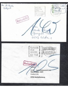 Tres cartas Alemania ausencia de franqueo y marcas de tasa Alemania - Desde 1950.