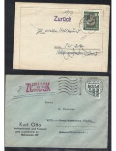 Dos cartas Alemania marcas de devolución Alemania - Desde 1950.