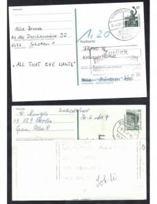 Dos tarjetas entero postales Alemania marca de devolución Alemania - Desde 1950.