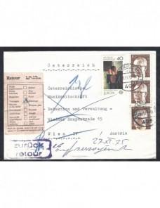Carta Alemania con marca devoluc¡ón  Alemania - Desde 1950.