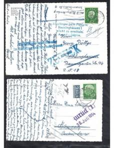 Dos tarjetas postales Alemania marcas de devolución Alemania - Desde 1950.