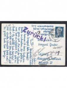 Tarjeta postal Alemania Democrática marca de devolución Alemania - Desde 1950.