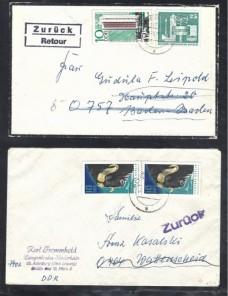 Cuatro piezas postales Alemania Democrática marcas de devolución Alemania - Desde 1950.