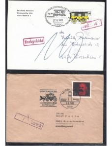 Lote temático. Tema transportes. Dos cartas Alemania matasellos especial Matasellos y franqueos mecánicos.