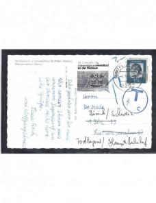 Tarjeta postal Alemania marca de tasa y matasellos especial Alemania - Desde 1950.