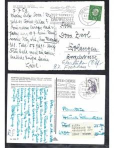 Lote temático. Tema paisajes. Dos tarjetas postales Alemania matasellos Matasellos y franqueos mecánicos.