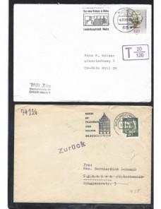 Lote temático. Tema arquitectura. Cinco cartas Alemania matasellos Matasellos y franqueos mecánicos.