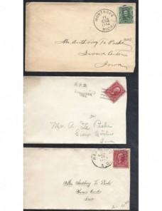 Tres cartas Estados Unidos EEUU - 1900 a 1930.