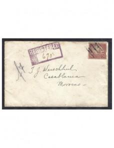 Carta certificada Estados Unidos a Marruecos EEUU - 1900 a 1930.