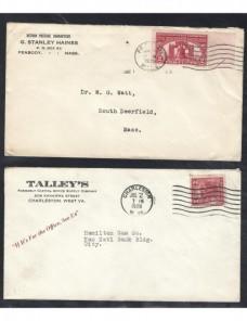 Tres cartas comerciales Estados Unidos EEUU - 1900 a 1930.