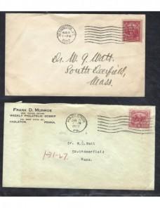 Cuatro cartas Estados Unidos franqueos diversos EEUU - 1900 a 1930.