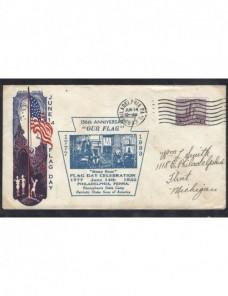 Carta Estados Unidos con ilustración y marca Día de la Bandera EEUU - 1931 a 1950.