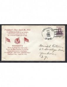 Carta Estados Unidos con ilustración Día del Presidente EEUU - 1931 a 1950.